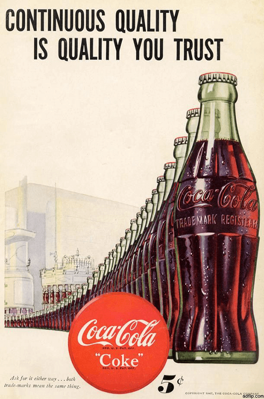 Coke continuous quality vintage ad